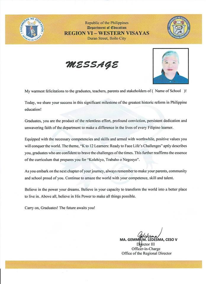 2018 Graduation Messages of Mrs  Ma  Gemma M  Ledesma, CESO